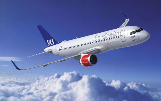 En datagenerert modell av SAS' nye Airbus A320neo. Foto fra SAS.