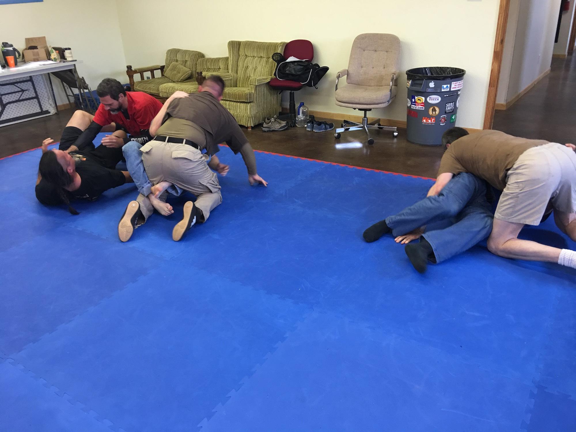 Immediate Action Jiu-Jitsu class at KR Training, Feb. 2017. I'm on far left, ground.