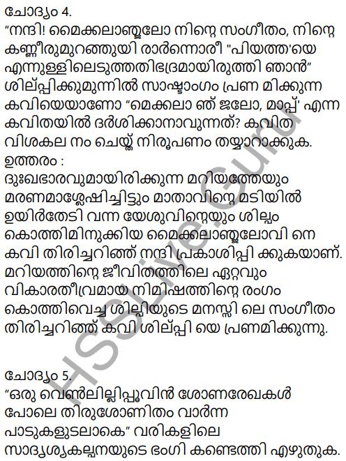 Kerala Padavali Malayalam Standard 10 Solutions Unit 5 Chapter 2 Michelangelo, Mappu 16