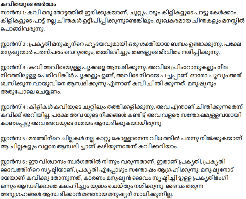 Kerala Syllabus 10th Standard English Solutions Unit 1 Chapter 3 Lines Written in Early Spring 6
