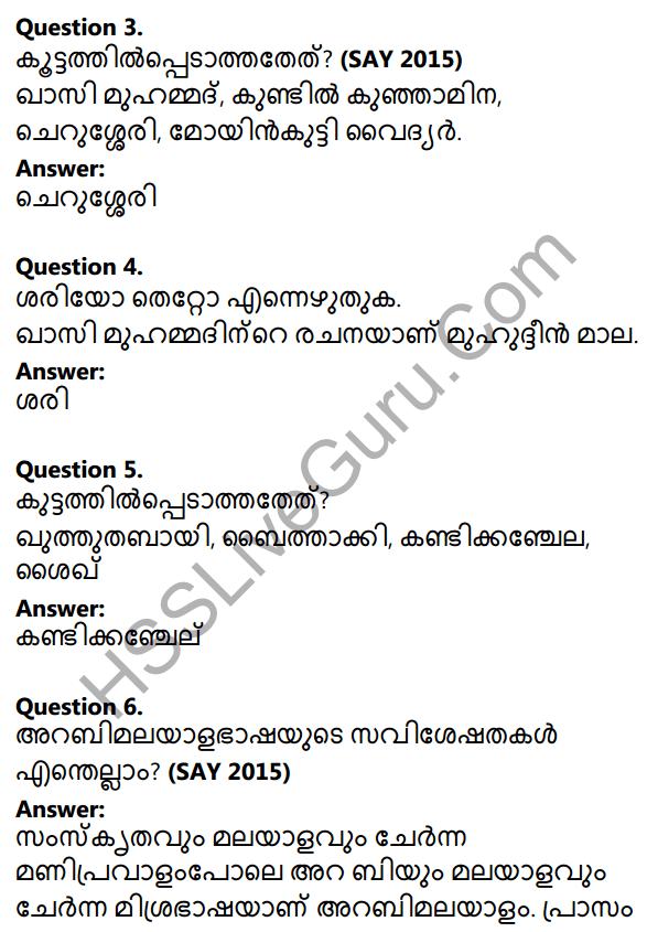 Plus One Malayalam Textbook Answers Unit 4 Chapter 3 Muhyadheen Mala 11