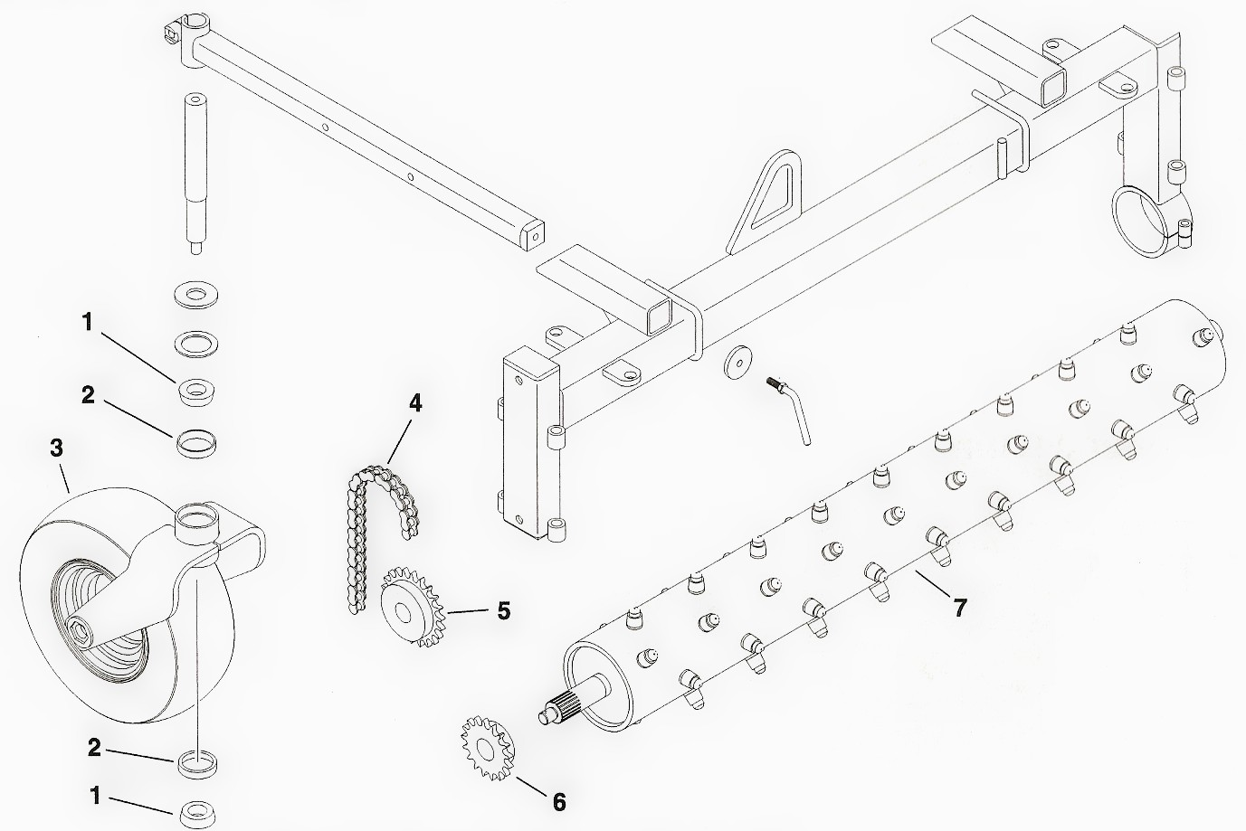 Toro Dingo Cultivator and Harley Rake Attachment Parts Diagram