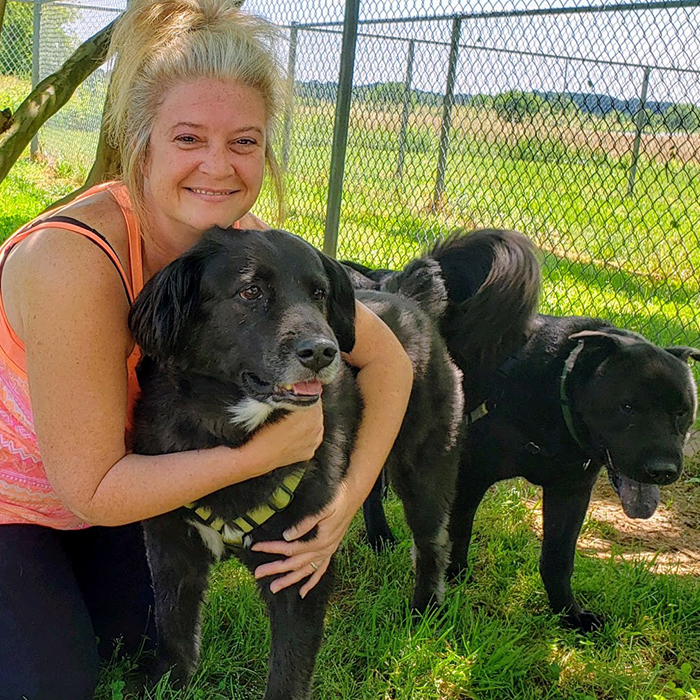 Kim Siewert with her two dogs