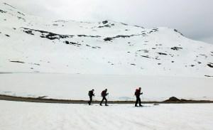 Skiing along