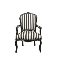 Louis XV armchair with black and white stripes