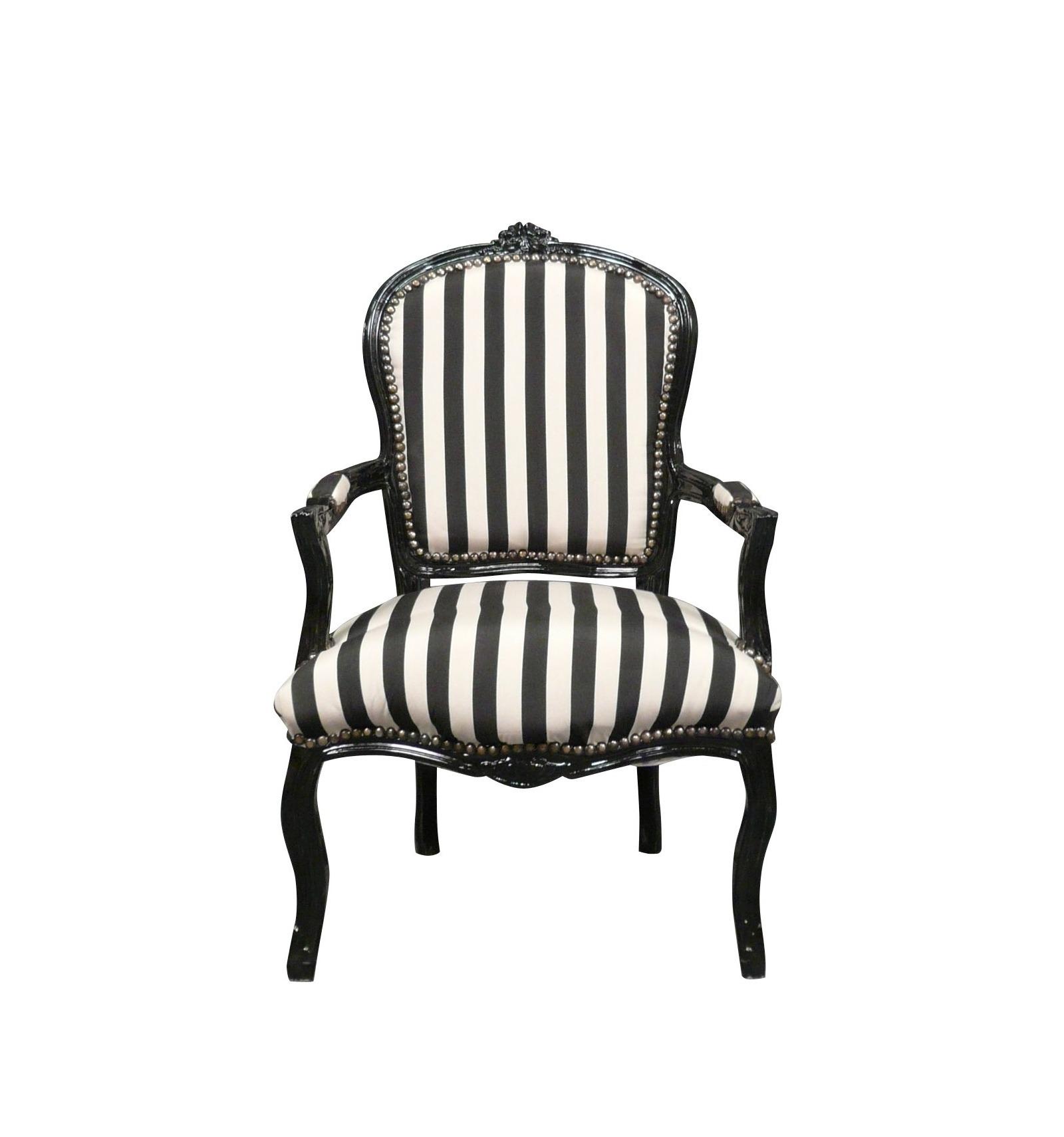 Silln Louis XV con blanco y negro  rayado barroco