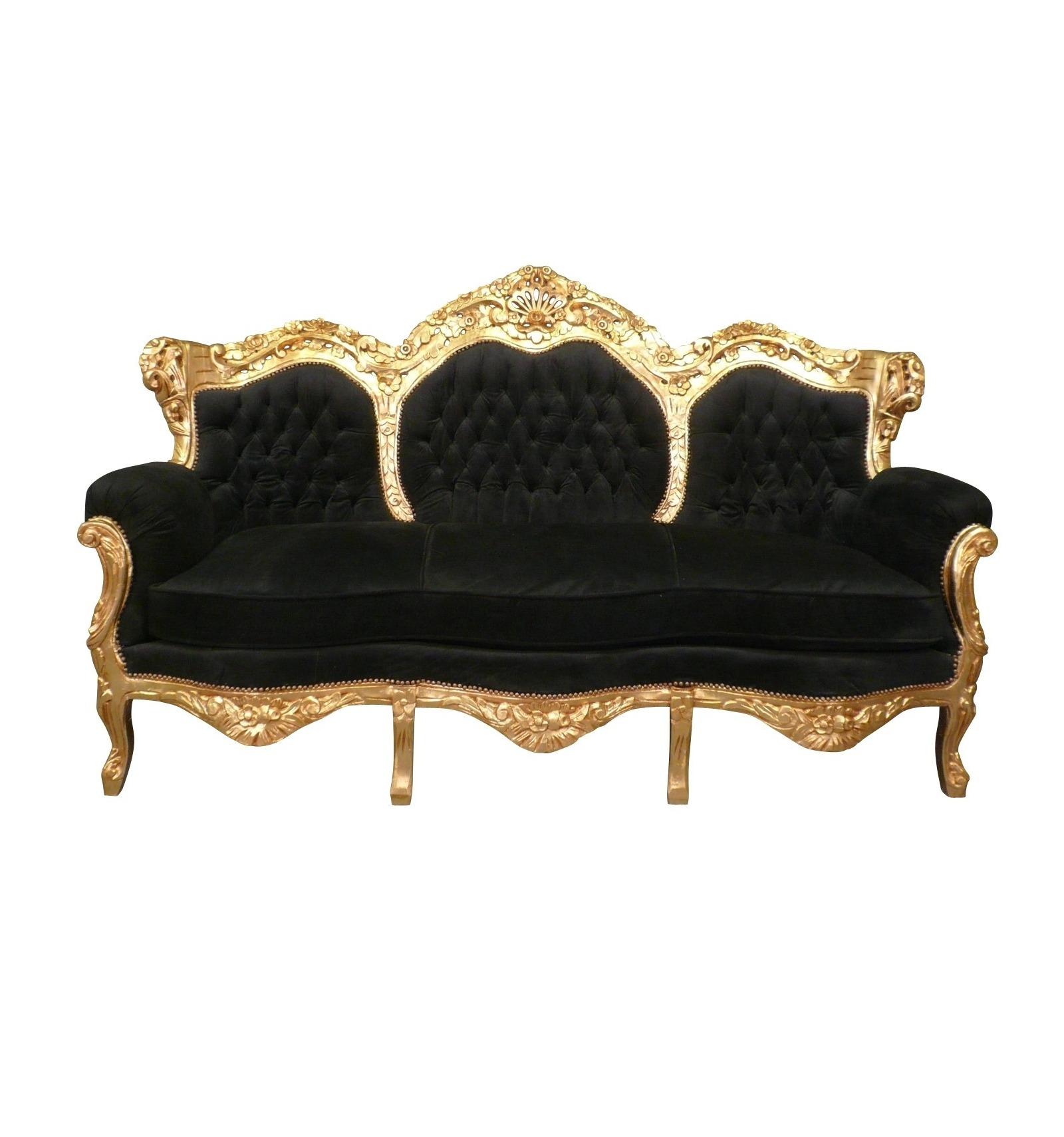 Divano stile barocco nero e oro