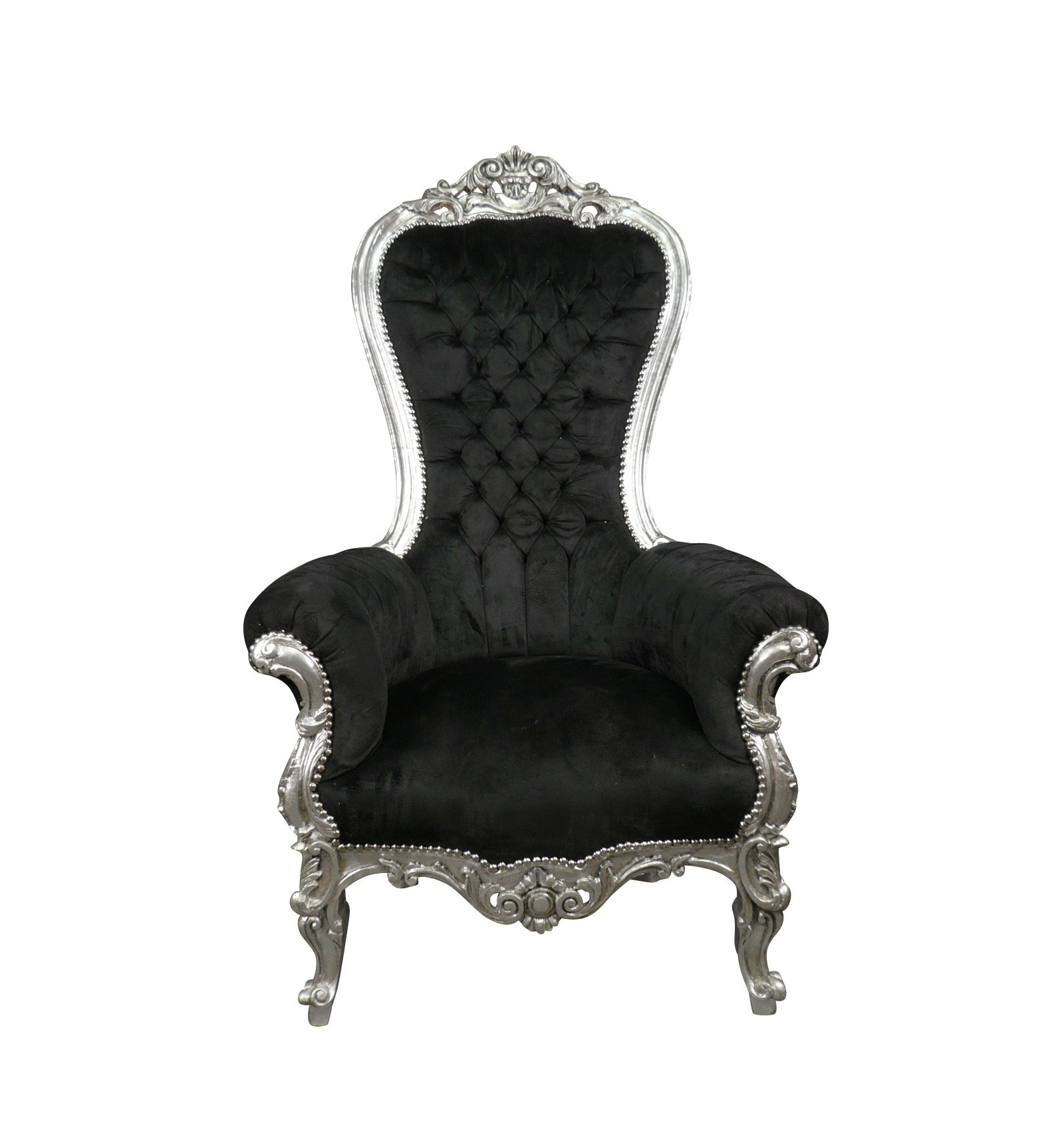 black velvet throne chair small living room chairs baroque in and wood silver