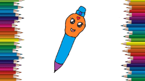 pen draw easy drawing coloring pages cartoon