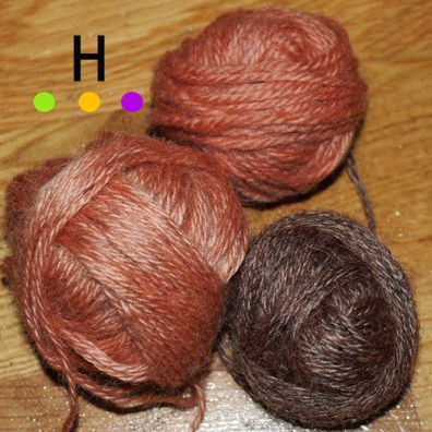 The un-dyed wool yarn after being dyed in madder.