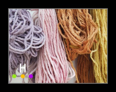 Cotton yarn dyed in logwood, lac, cutch and tansy.