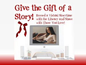 Gift the Gift of a Story text with woman reading