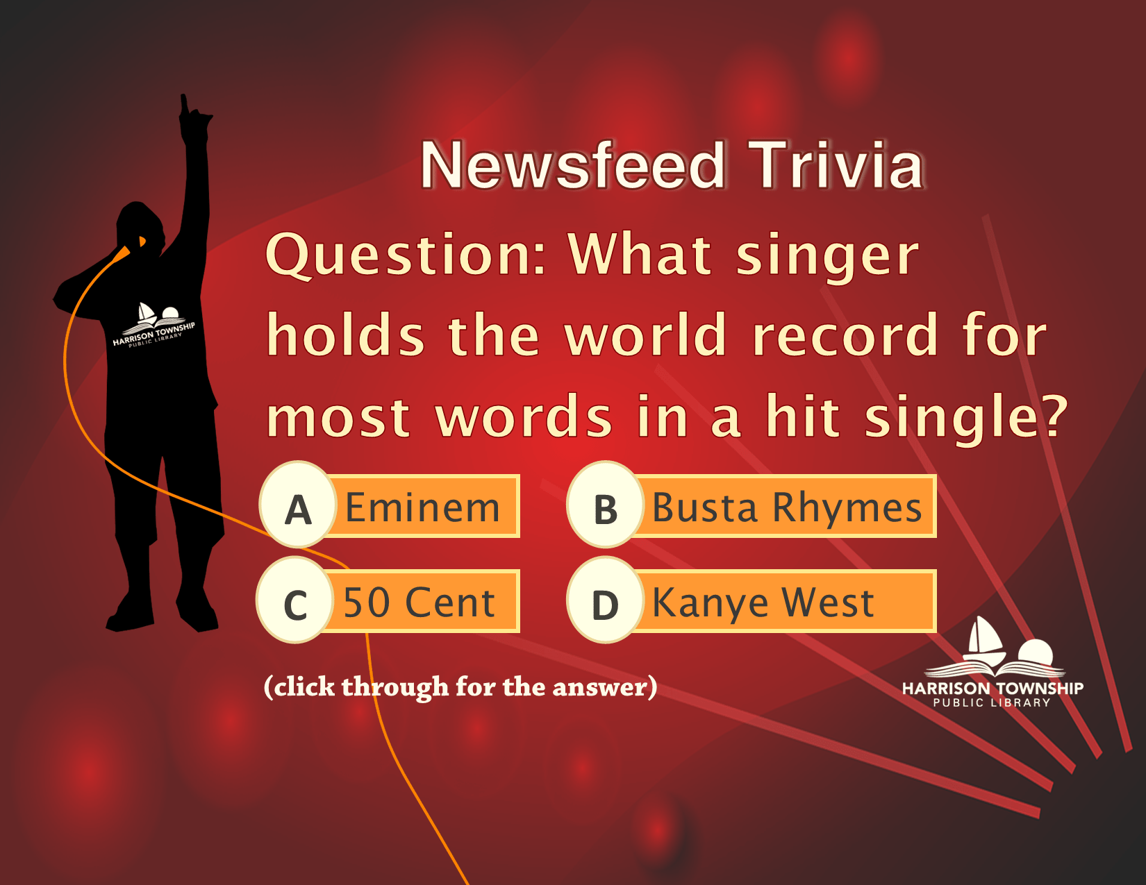 What singer holds the world record for most words in a hit single? A: Eminem B. Busta Rhymes C. 50 Cent D. Kanye West