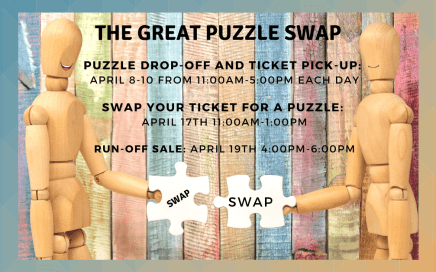 The Great Puzzle Swap imgae of two figures swapping puzzle pieces