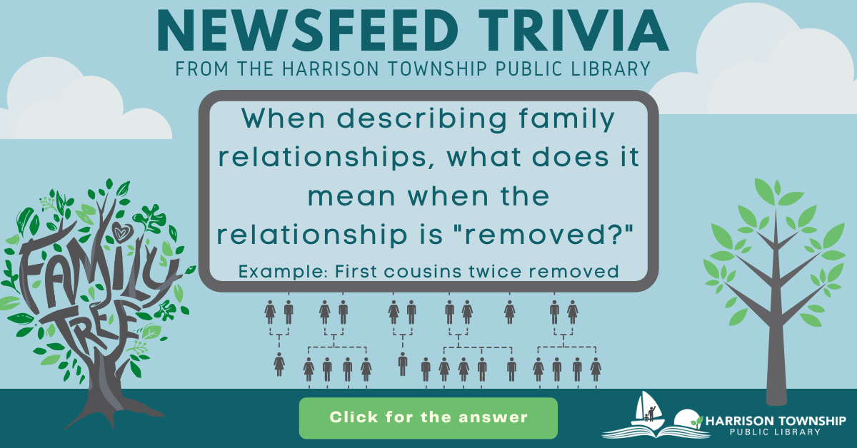 """Newsfeed Trivia from the Harrison Township Public Library. Question: When describing family relationships, what does it mean when the relationship is """"removed?"""" Example: First cousins twice removed"""