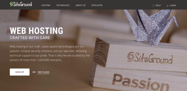Schermata di hosting di SiteGround
