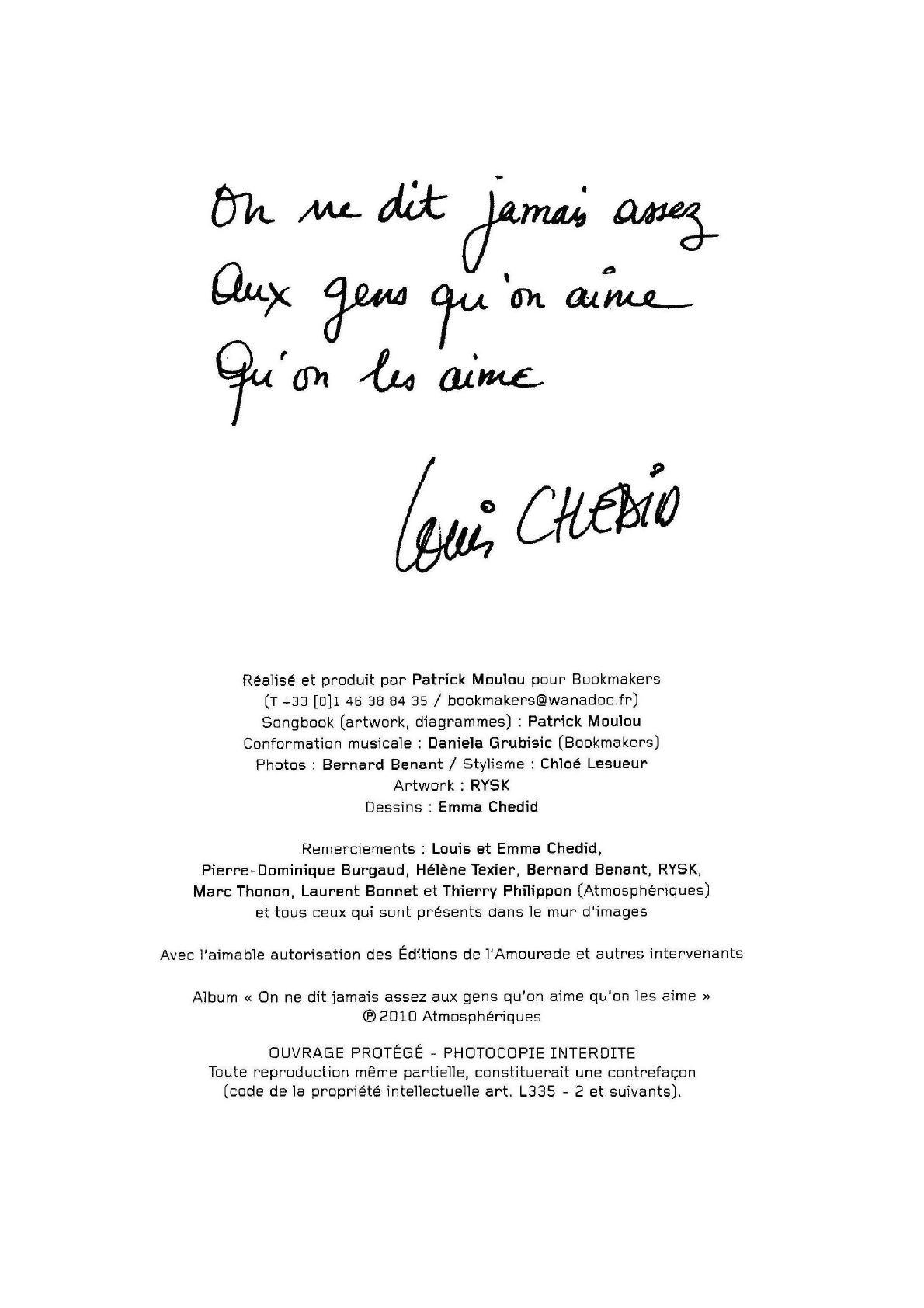 On Ne Dit Jamais Assez Aux Gens Qu'on Aime Qu'on Les Aime Paroles : jamais, assez, qu'on, paroles, Louis, Chedid, Jamais, Assez, Qu'on, Aime-(fr-pvgt), [PDF|TXT]