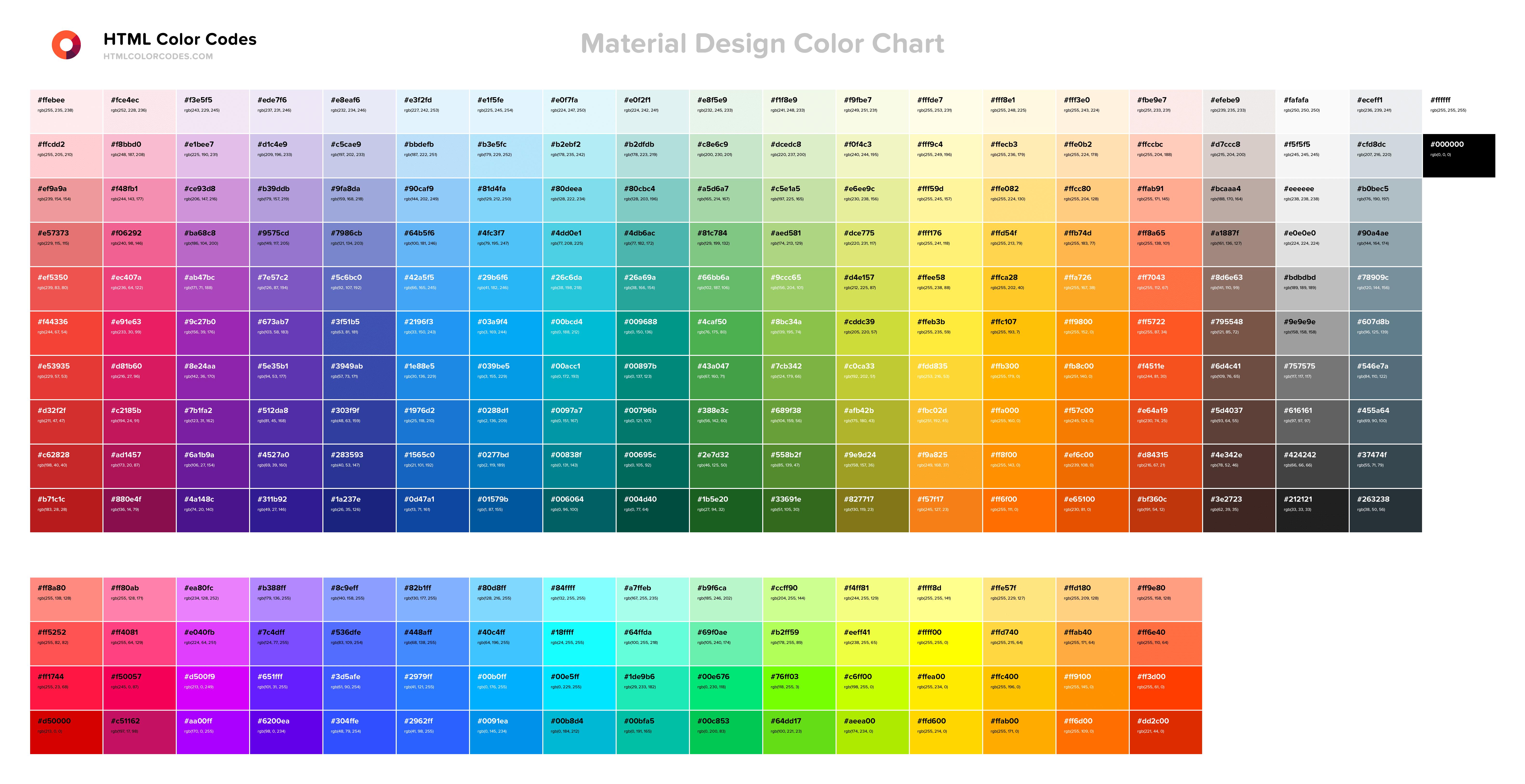 color chart html color