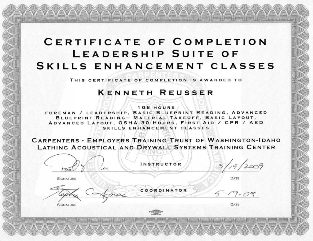 Certificate of Completion in Foreman's Leadership Skills