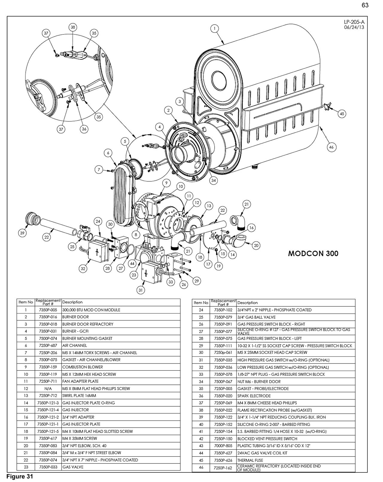 Mod Con Volume Water Heater Parts- HTP