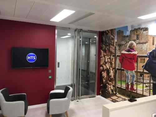 digital signage screen in reception