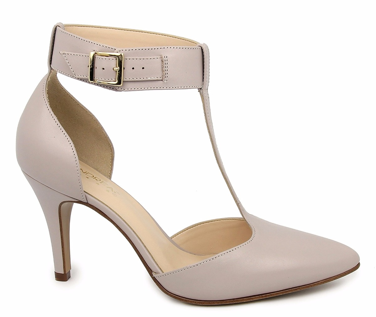 Zapatos Zapatillas Andrea Grises De Piel Tacon Bajito