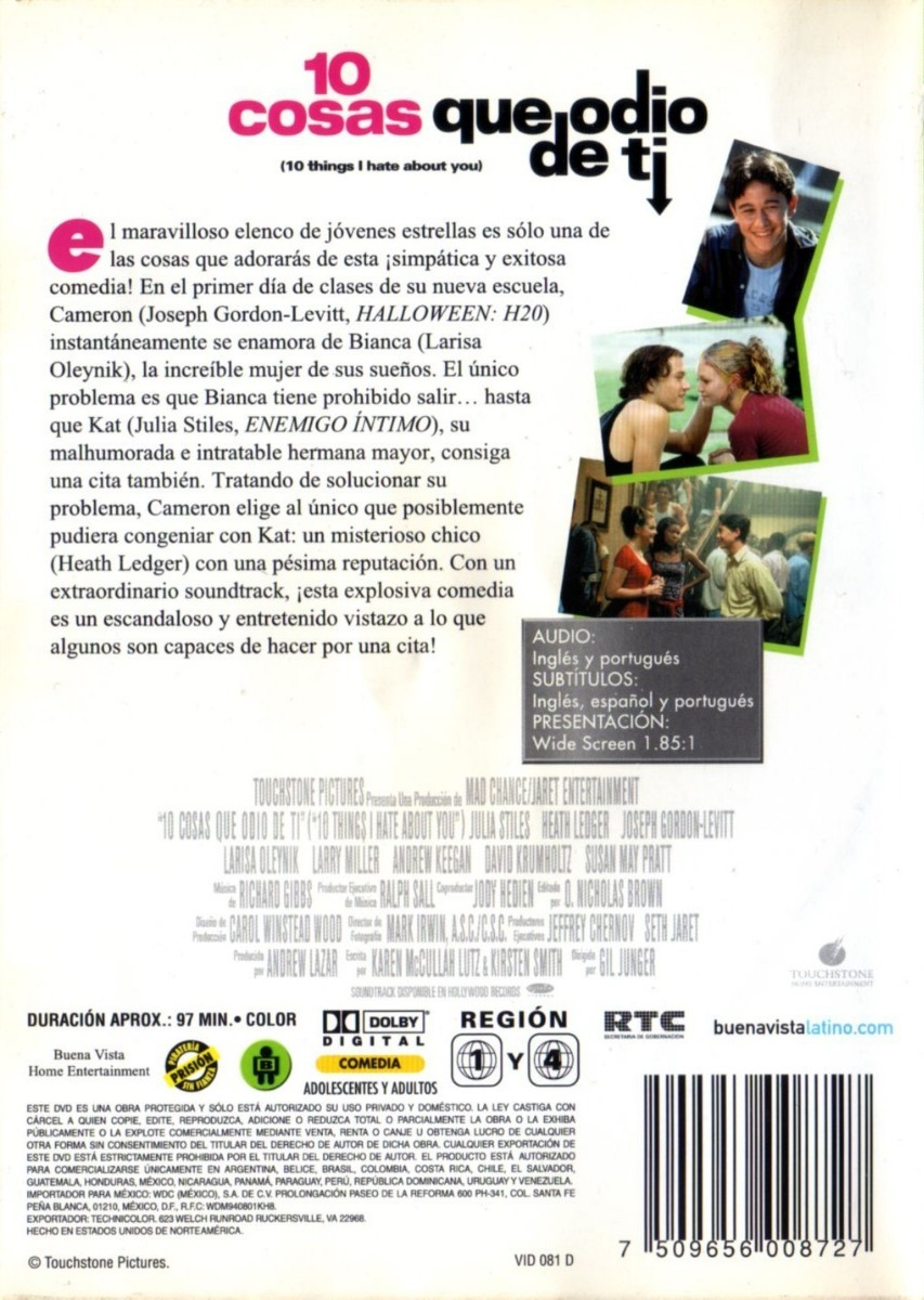 10 Cosas Que Odio De Tí ( Heath Ledger ) Dvd Original - $ 225,00 en
