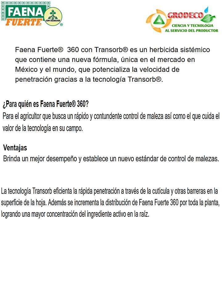 10 Litros De Faena Fuerte Herbicida Glifosato Control