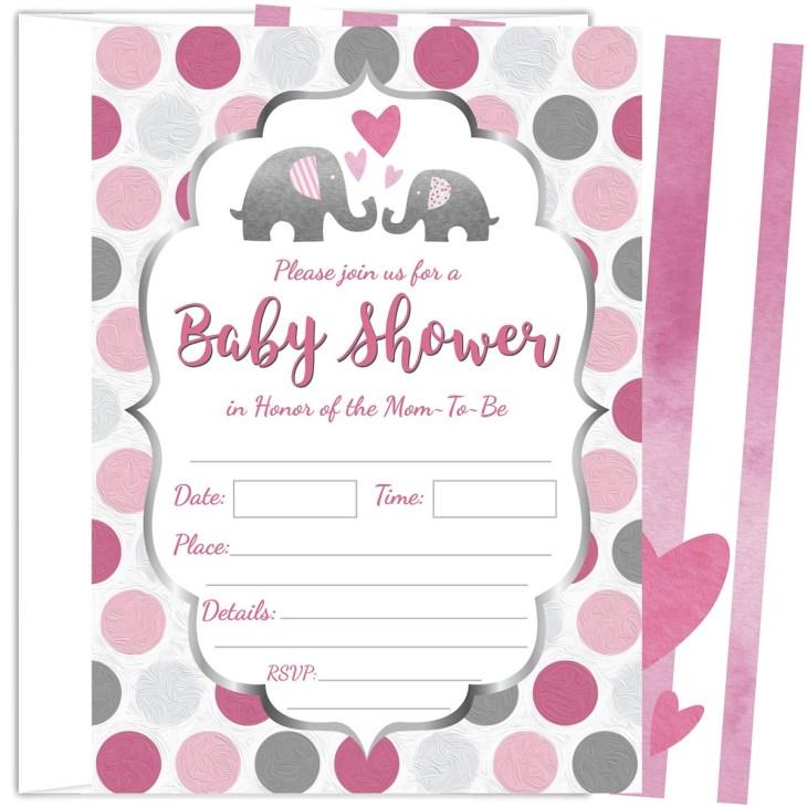 25 invitaciones para baby shower de niña elefante rosa de 5. Cargando zoom.