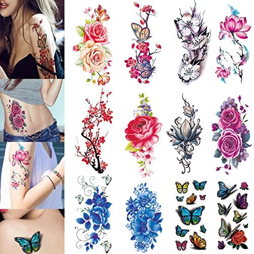 3d Tatuajes Temporales Para Mujeres Flores Grande Lotus Rose