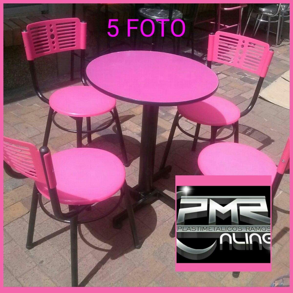 4 Sillas Karla Plastica Y Mesa Madera Para Restaurante Bar