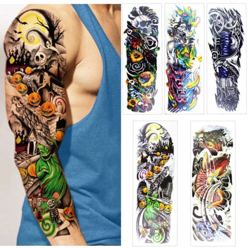 5 Hojas Brazo Completo Pierna Tatuajes Temporales Impermeab