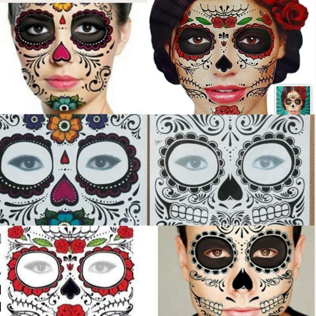 6 Tatuajes Catrina Halloween Muertos Hombre Mujer 7900 En