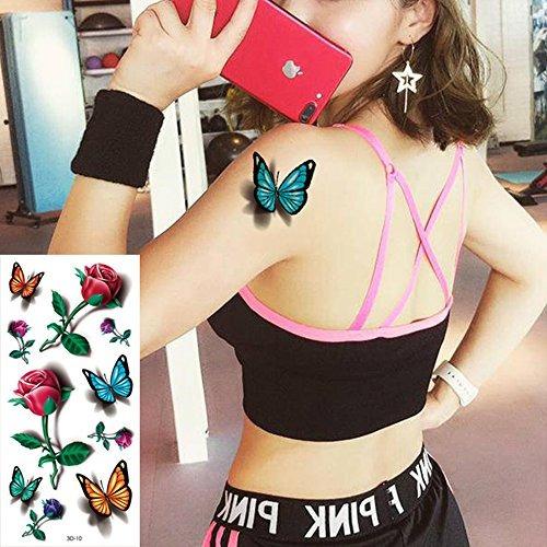 8 Hojas Mariposas 3d Temporal Papel Sexy Cuerpo Tatuaje Pega