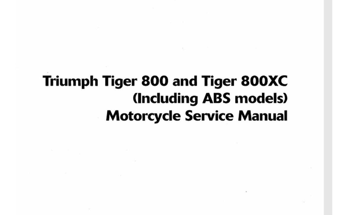 Manual De Serviço Triumph Tiger 800 800xc 2010 A 2014