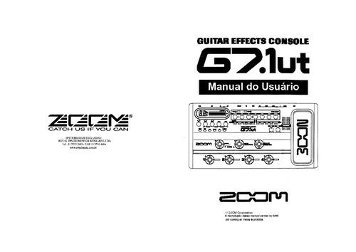 Manual Pedaleira Zoom G7 1ut Em Português (arquivo Pdf