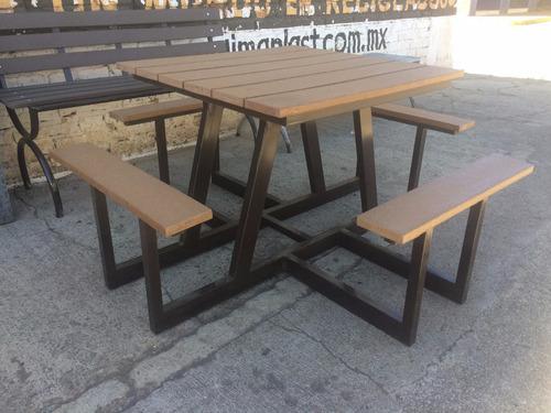 mesa banca para jardin imitacion madera