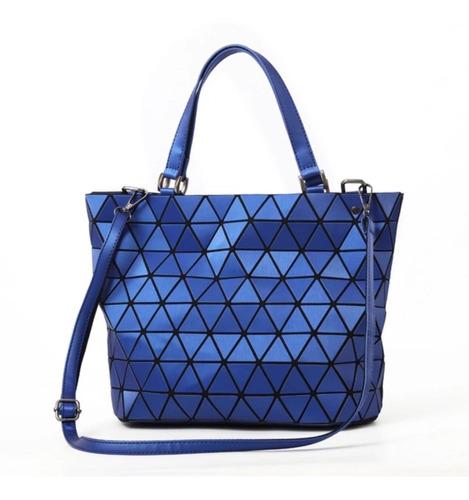 Bolsa Estilo Bao Bao Azul Agarradera Asa Geometrica