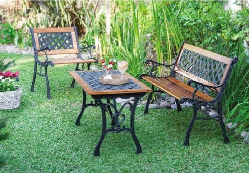 mesa jardin hierro y madera 100 x 50 cms
