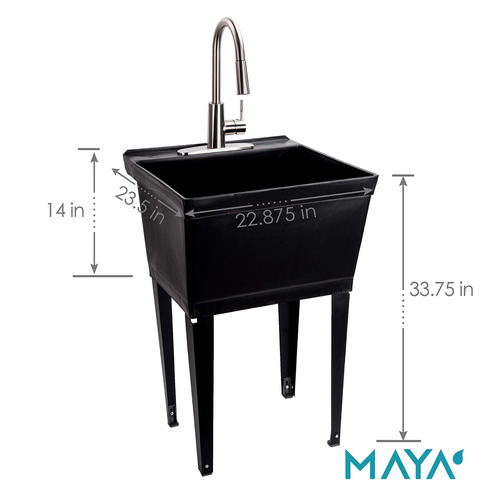 black utility sink laundry tub with high arc stainless steel