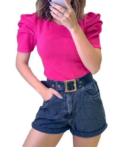 Blusa Manga Bufante Princesa Tricot Manga Curta Modal | Mercado Livre