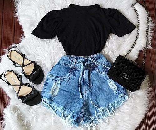 Kit Lindo Conjunto Short Jeans +blusa Princesa Manga Bufante | Mercado Livre
