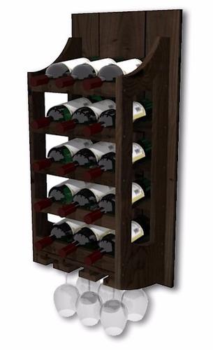 Adega De Parede De Madeira Para Vinhos 15 Garrafas E 6