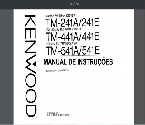 Manual Em Português Do Rádio Transceiver Kenwood Tm-241 A