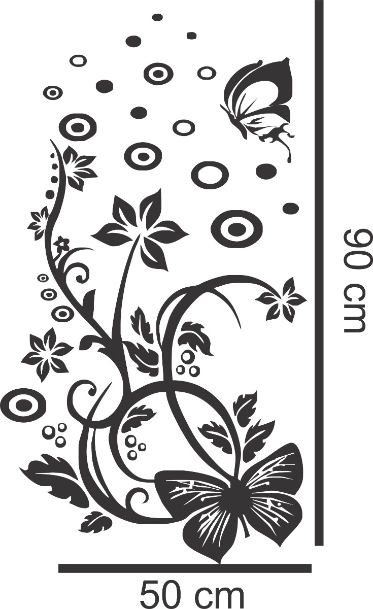 Adesivo Decorativo Parede Box Geladeira Borboleta Flor