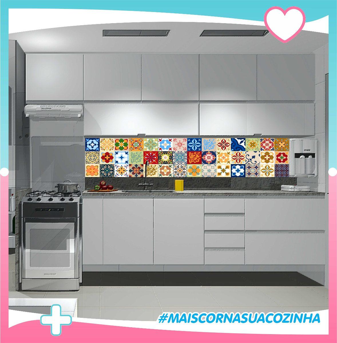 Adesivo Ladrilho Hidrulico Azulejo Portugues De Cozinha