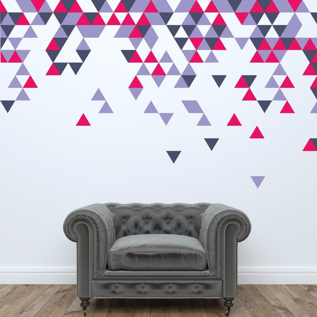 Adesivos Triangulos De Parede Coloridos 8x8 Cm 240 Un  R