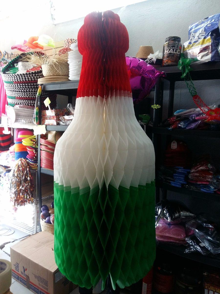 Adorno Fiestas Patrias Botella Tricolor Papel China 2 Mts