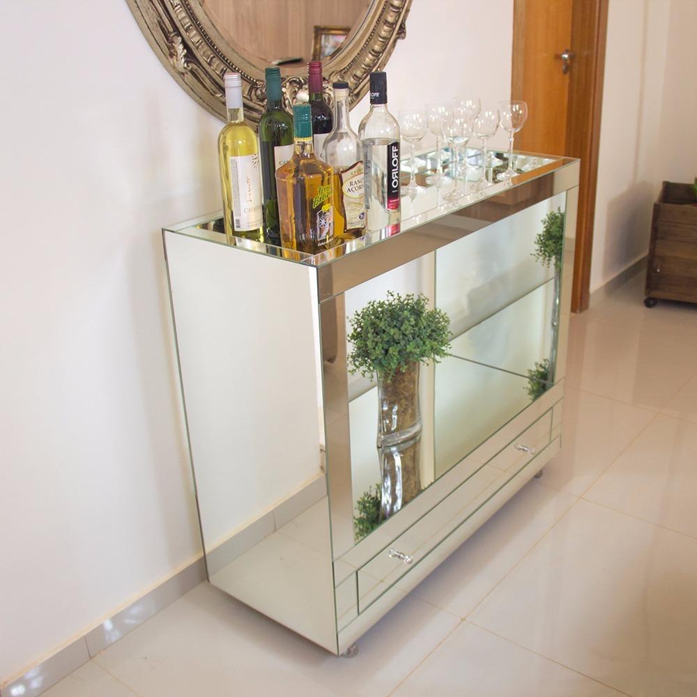 Aparador  Bar Espelhado Lapidado Para Sala  R 110000