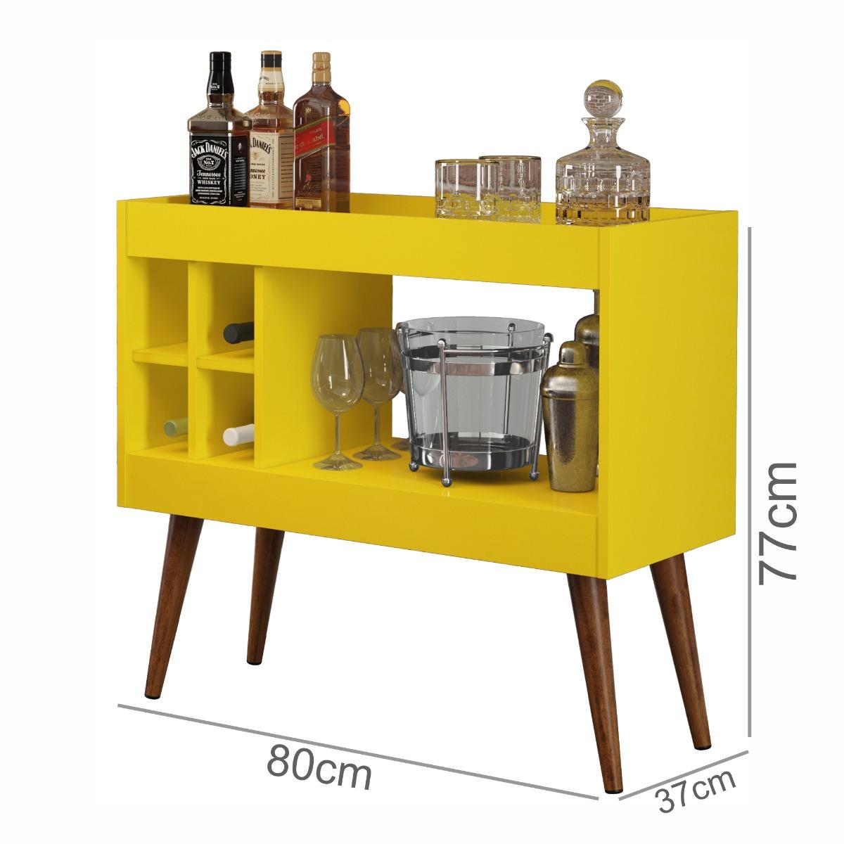 Aparador Sala Bar Com Adega Artely Plus  Amarelo Brilho